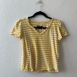 Yellow and White Striped Top
